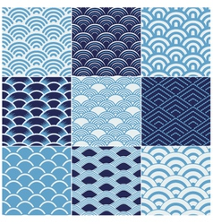 seamless ocean wave pattern vector image vector image