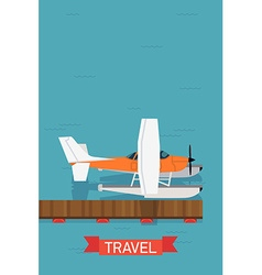 Seaplane travel icon vector