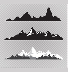set of black and white mountain silhouettes vector image vector image