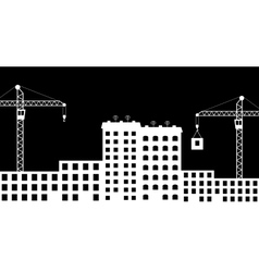 Silhouette the construction of city vector image