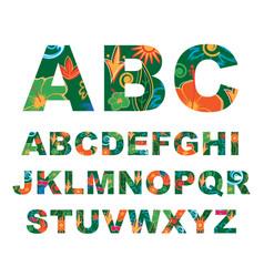 Summer alphabet capital tropical letters vector