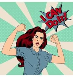 Super Girl in Pop Art Style vector image vector image