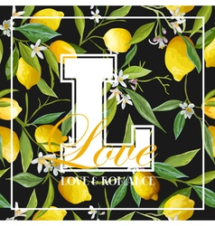 Vintage lemons leaves and flowers graphic vector