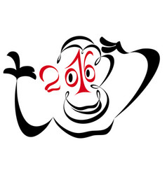 year of the monkey 2016 vector image vector image