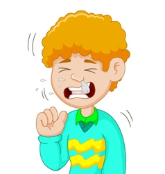 Boy cartoon having flu vector