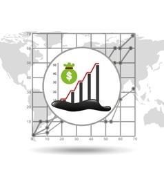 Bag money graph oil industry growth diagram vector