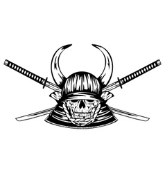 Skull in helmet with horns and samurai sword vector