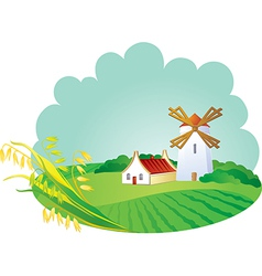 Rural background with windmill and ears vector
