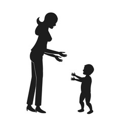 mother and her son child together pictogram vector image
