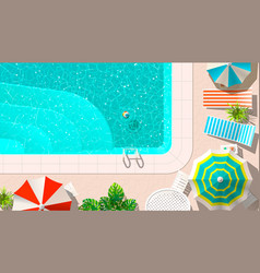 Pool and lounges with umbrellas vector