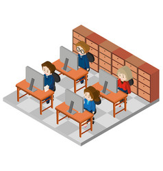 3d design for office workers working in office vector