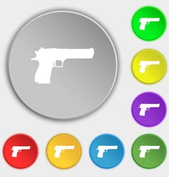 Gun icon sign symbol on five flat buttons vector