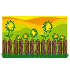 Garden sunflowers vector