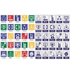 Icons internet and telephone vector
