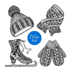 Decorative skates mittens scarf doodle icons vector