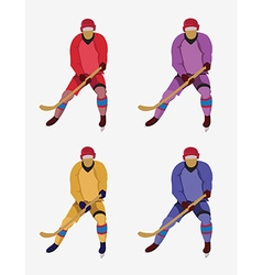 Hockey players with a hockey stick and skates vector