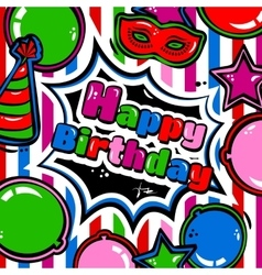 Birthday card with balloons blast carnival mask vector