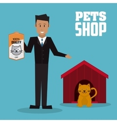 Pet shop with cat design vector