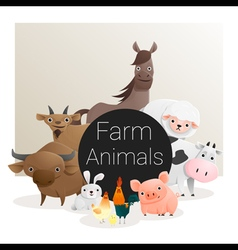 Cute animal family background with farm animals 3 vector