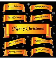 Yellow shiny color merry christmas slogan curved vector