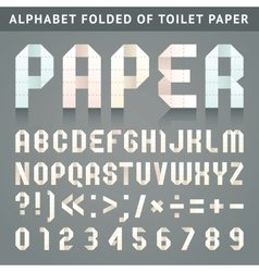 Alphabet folded of toilet paper vector