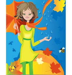 autumn girl vector image vector image