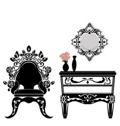 baroque black furniture rich set handmade vector image