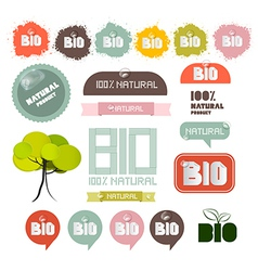 Bio - Natural Product Green Labels - Tags - vector image vector image