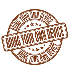 Bring your own device brown grunge stamp vector