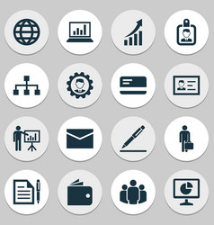 Business icons set collection of work man earth vector