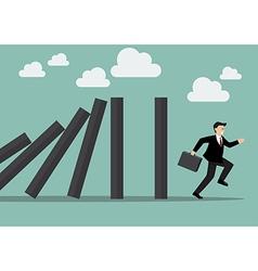 Businessman run away domino effect vector