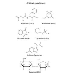 Chemical formulas of artificial sweeteners vector