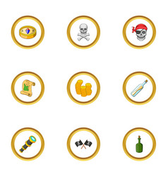 Corsair icons set cartoon style vector