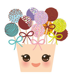 Cute funny kawaii colorful sweet cake pops se vector