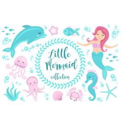 Cute set little mermaid and underwater world vector