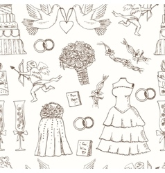 Doodle wedding seamless pattern for invitation vector image vector image