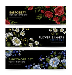 Floral folk embroidery banners set vector