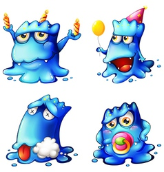 Four blue monsters vector image