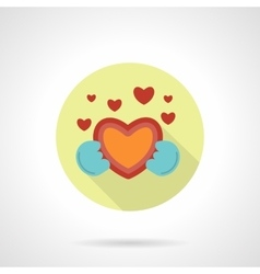 Give heart icon flat round style vector image vector image