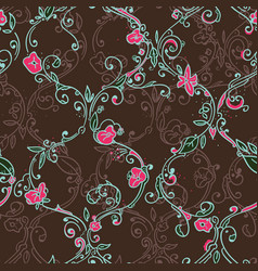 Hand drawn trellis floral seamless pattern vector