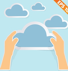 Hand with cloud computing - - EPS10 vector image