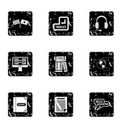 Language learning icons set grunge style vector