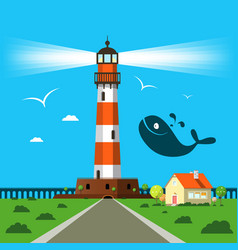 Lit lighthouse cartoon with house and whale vector