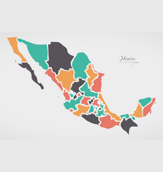 Mexican map with states and modern round shapes vector