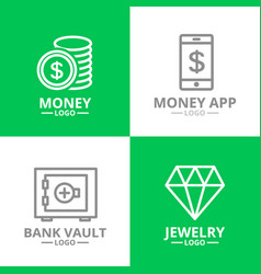 set of money and bank cash diamond coin logo or vector image vector image