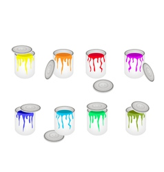 Set of opened buckets with six paint colors vector