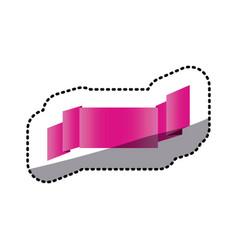 Sticker magenta shiny satin ribbon icon decorative vector