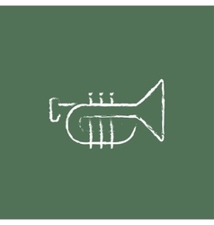 Trumpet icon drawn in chalk vector image