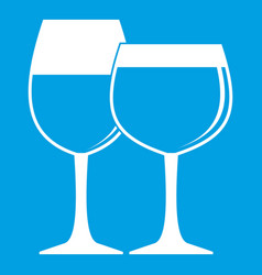 Two glasses of wine icon white vector