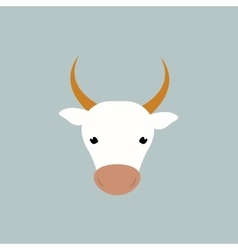 White cow head vector